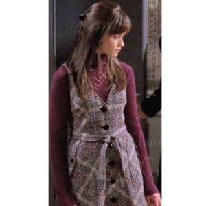 RARE Anthro Maple Plaid Crosshatch Wool Dress 8